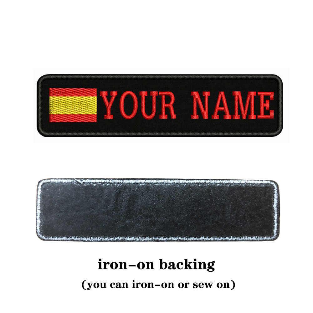 Spagna Bandiera Del Ricamo Nome Personalizzato Testo Patch Strisce Distintivo di Ferro on O Cucire on O Velcro Supporto Toppe E Stemmi per I Vestiti cappello Zaino