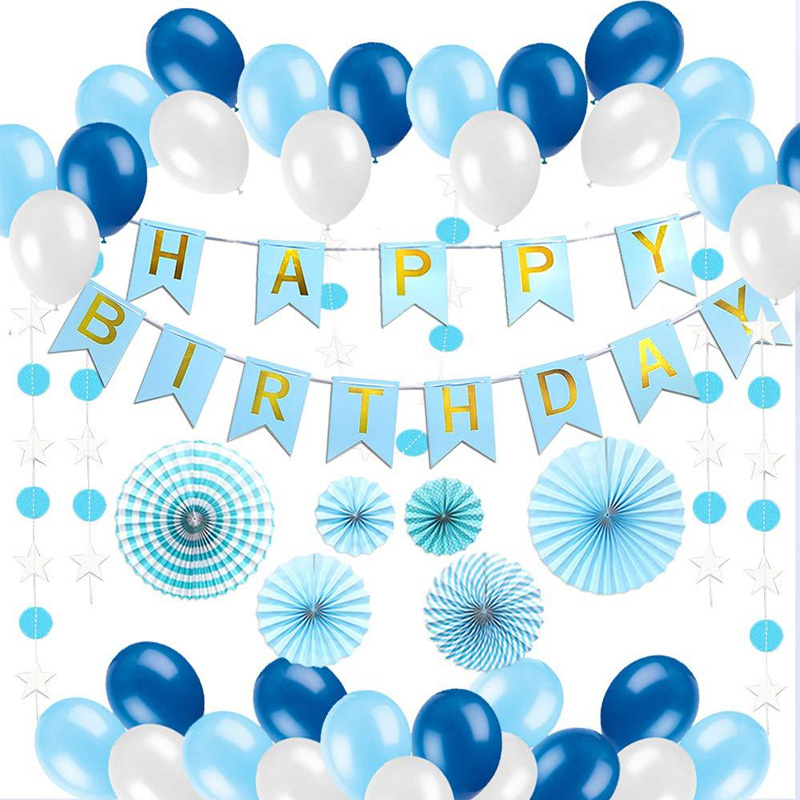 Blue White Happy Birthday Banner Balloons Tissue Paper Fans Flower Baby Shower Birth Party Star Circle Streamer Decorations
