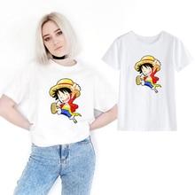 One Piece Tshirt Japanese Anime Cartoon Funny Women T-shirt Luffy T Shirts Clothing Tee Shirt Printed White Short Sleeve Tee Top цена и фото