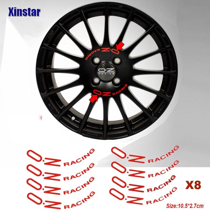 8 шт OZ гоночное автомобильное колесо Стикеры для OZ ралли спица для колеса наклейки черный Универсальный авто тюнинг аксессуары