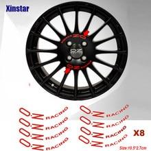 8 pçs oz carro de corrida etiqueta da roda para oz rally racing rodas falou adesivos preto universal acessórios tunning automóvel
