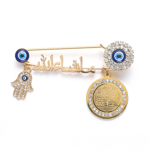 Quran Muslim Islam Mashallah In Arabic Four Qul Suras Hamsa Hand of Fatima Turkish Evil Eye Brooch Pins