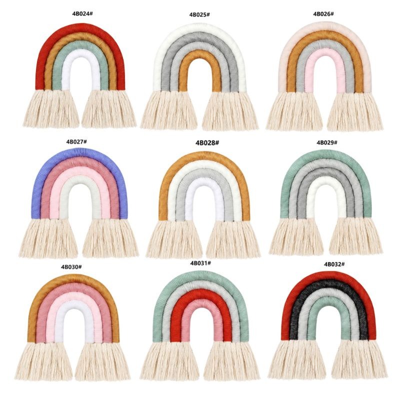 4 Layers Macrame Rainbow Wall Decor for Bedroom Nursery Baby Kids Rooms Colorful Tapestry Rope Woven Tassel Wall Hanging Toys