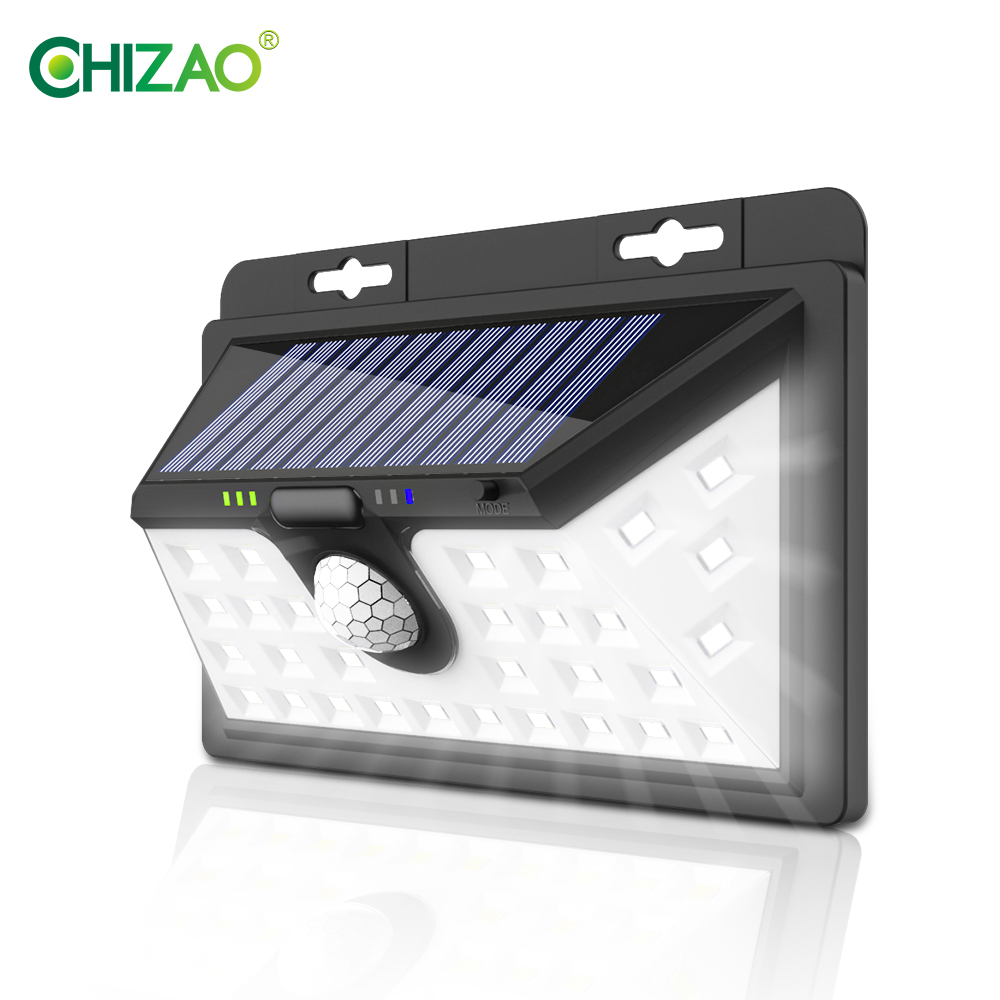 CHIZAO Garden light Solar energy Outdoor wall lamp High brightness PIR motion sensor 3 lighting modes IP65 waterproof Dropship