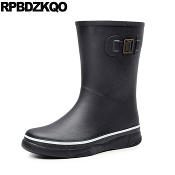plus size fall designer footwear non slip tall mid calf waterproof black autumn mens rubber rain boots on fur winter shoes flat