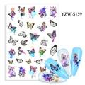 Красочные 3D наклейки для ногтей с изображением бабочек, черные линии, рисование крыльев, маникюрные слайдеры, бабочки, фольга, украшения для...