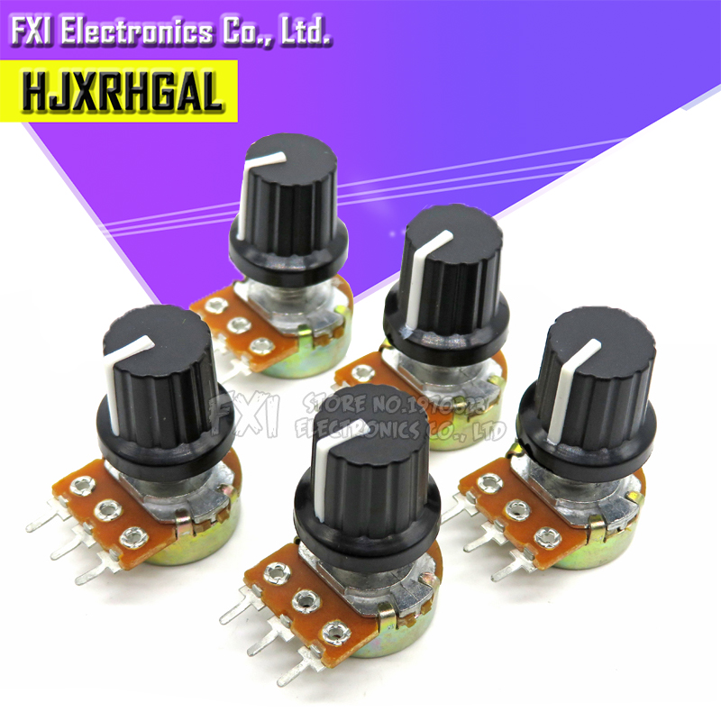 5Sets 5PCS+5PCS WH148 B1K ~ B1M ohm 1K 2K 5K 10K 20K 3Pin 15mm 10K 3 Terminal Linear Taper Rotary potentiometer for Arduino