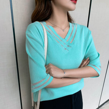 Plus Size Knitted Tops Tees 2020 Spring Summer Women Fashion