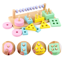 Baby Wooden Montessori teaching aid Matching Digital Shape Counting Match Early Education Teaching Math Toys For Children montessori children teaching children counting and stacking boards wooden math toys puzzle early education toys