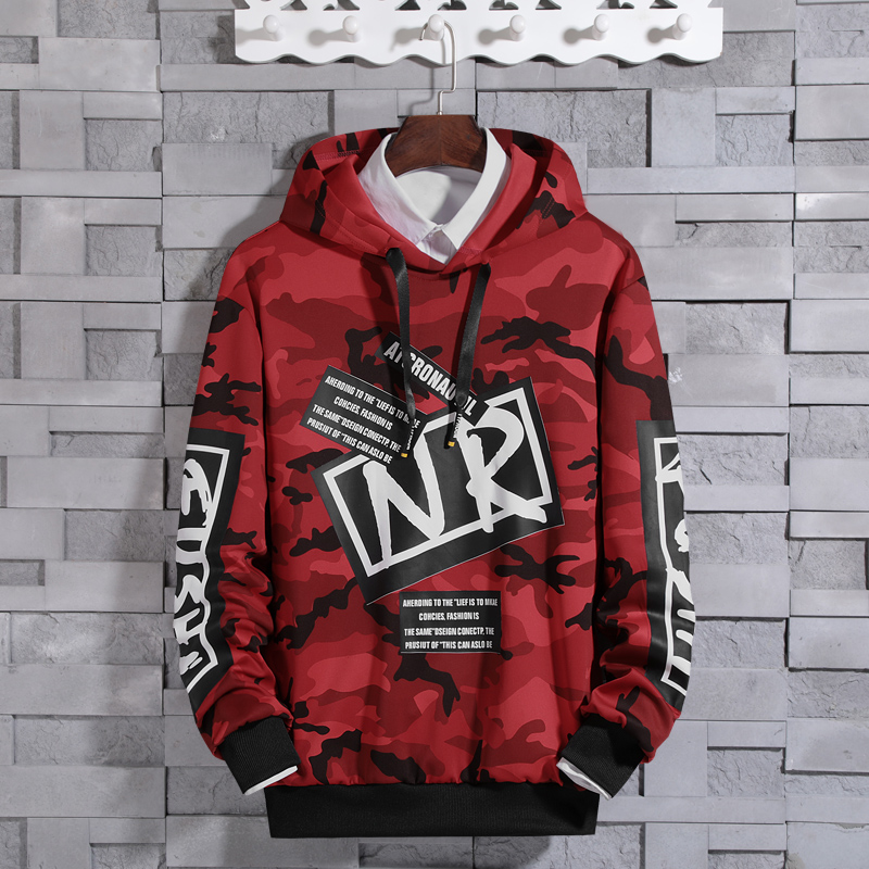 2019 New Arrival Hoodies Men Camouflage Peinted Brand Clothing Korean Hip Hop Hooded Homme Sweatshirts Male Plus Size M-4XL