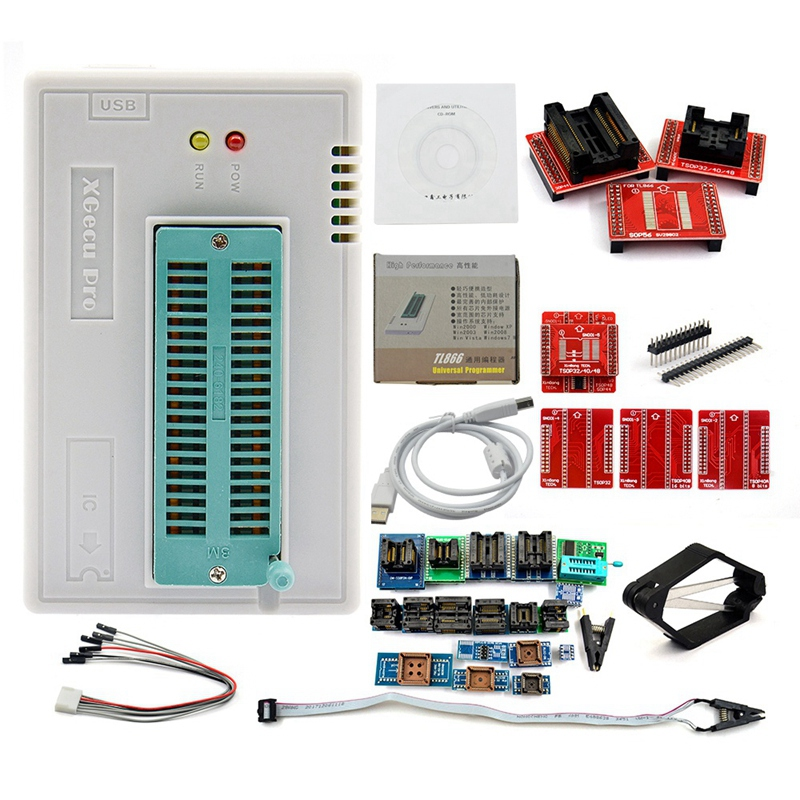 V8.33 Tl866Ii Plus Universal Minipro Programmer+28 Adapters+Test Clip Tl866 Pic Bios High Speed Programmer AC/DC Adapters     - title=