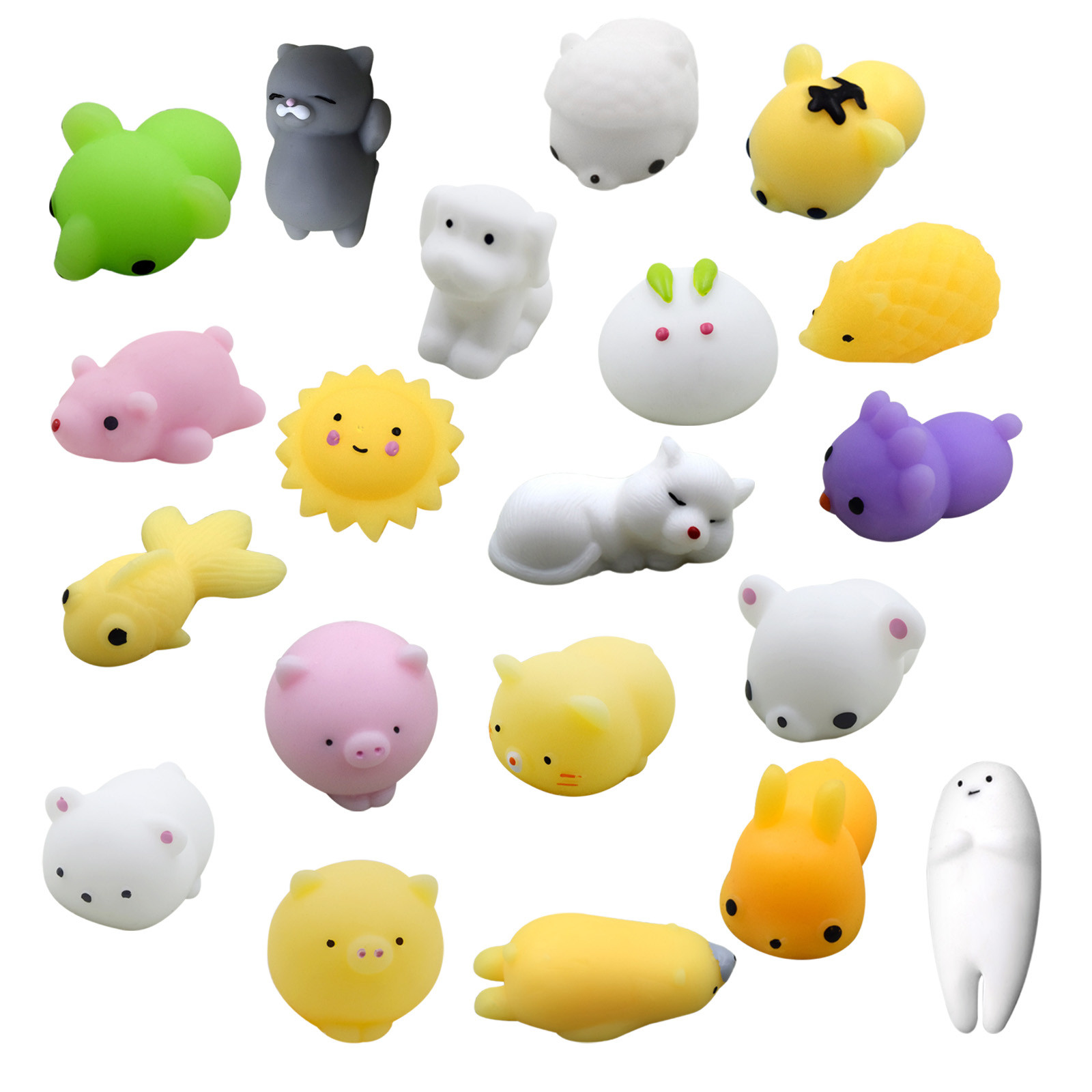 5/20pcs Pack Squishy Cat Mochi Antistress Squeeze Squish Cute Animal Toys Stress Relief
