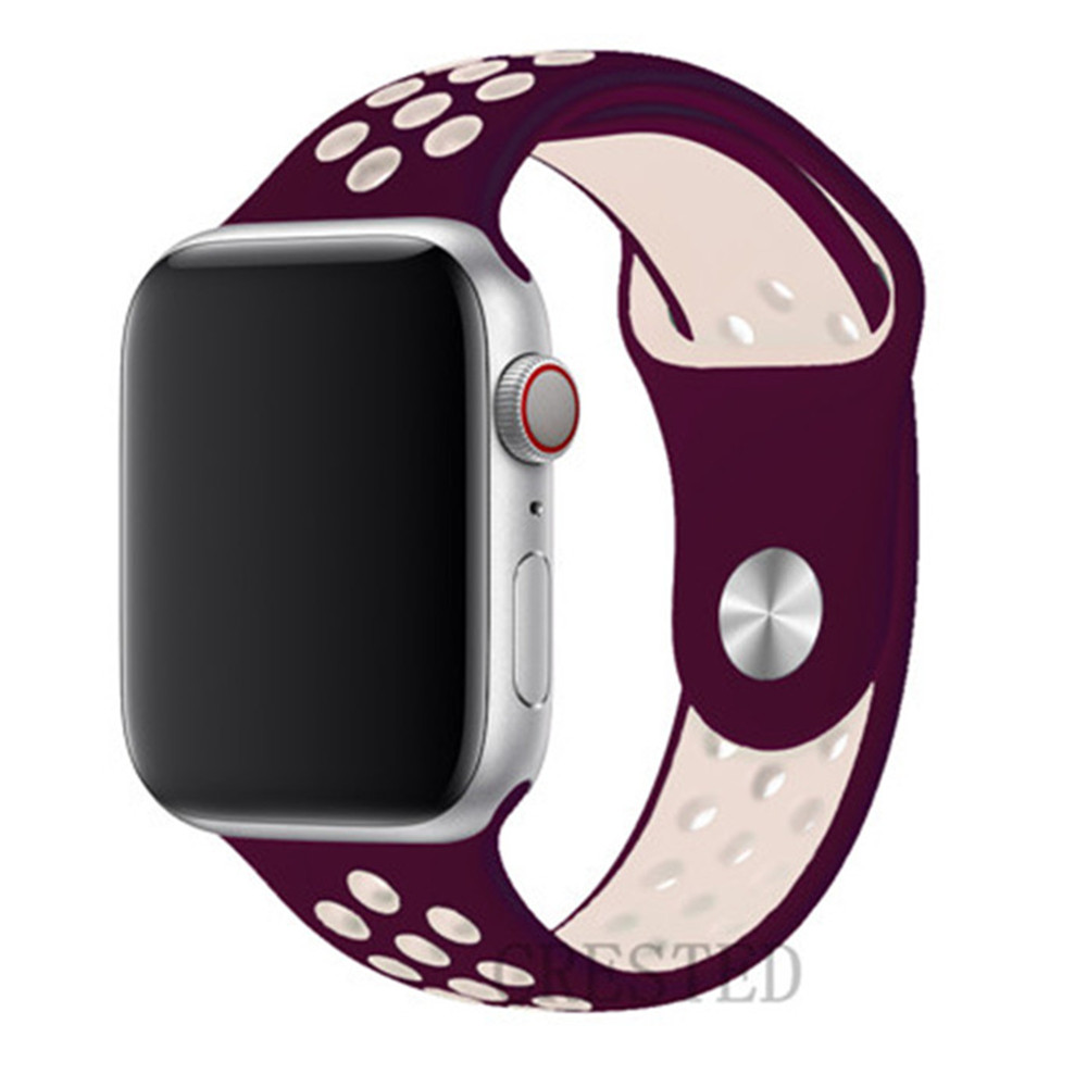 Спортивный ремешок для apple watch band 44 мм/40 мм apple watch 5 4 3 band iwatch band 5 42 мм/38 мм correa браслет ремень аксессуары для часов - Цвет ремешка: NEW wine pink