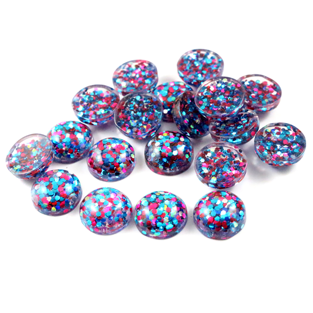 40pcs 12mm New Fashion Peacock Blue And Pink And White Mix Color Flat Back Resin Cabochons Cameo  G3-31
