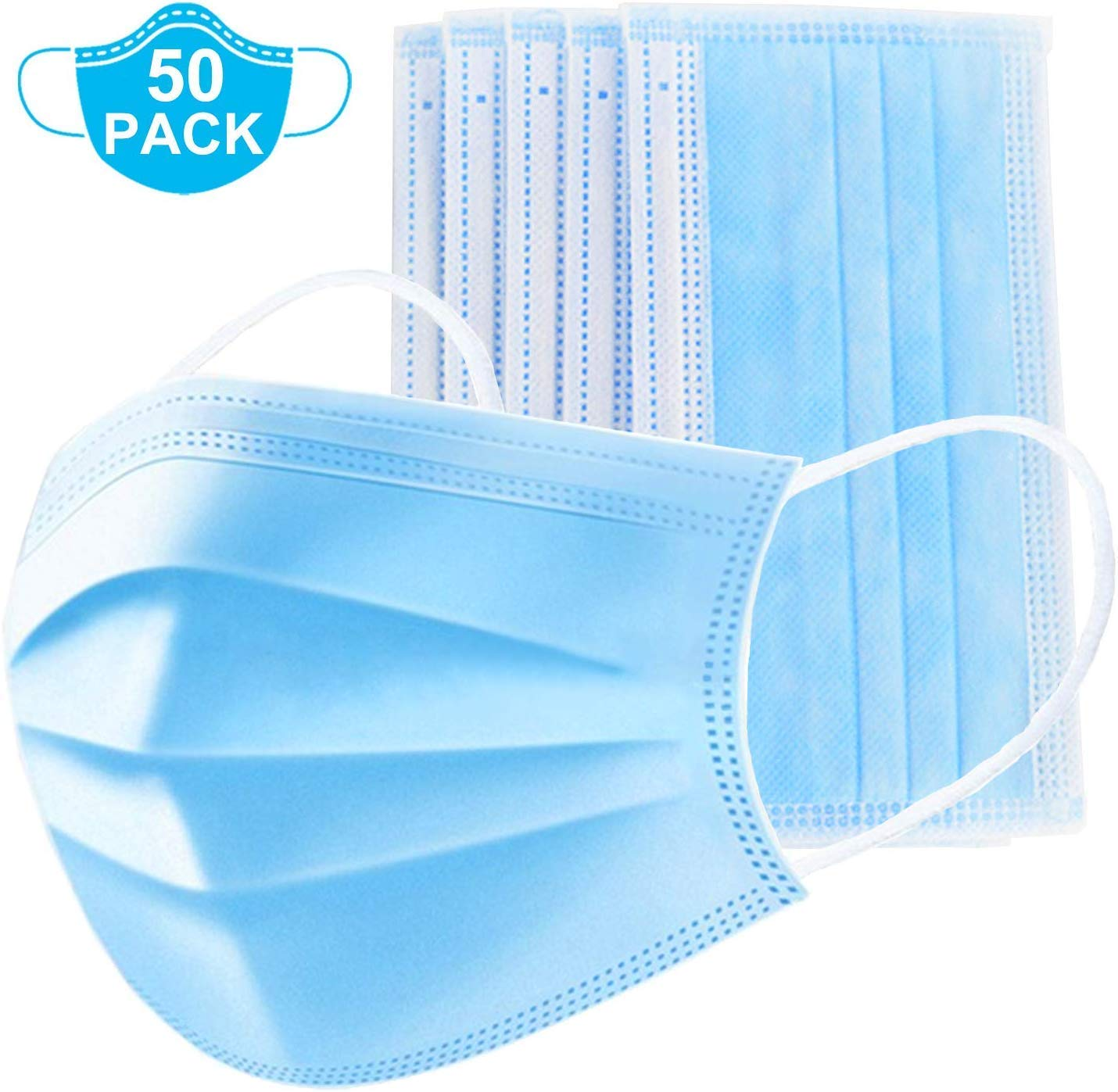 10/20/50/100 Pieces Disposable Face Mask Safety Mask Dust For  Personal Health, 3-Ply Ear Loop (10) Mouth Mask