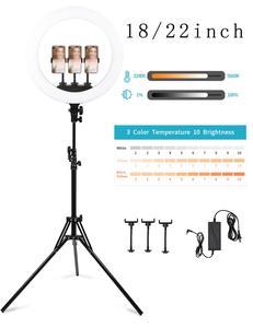 """Image 4 - LED حلقة مصباح 10 """"14"""" 18 """"22"""" عكس الضوء Selfie مصباح مصمم على شكل حلقة 3200 5600K مع حامل ثلاثي القوائم التصوير الفوتوغرافي الإضاءة لفيديو يوتيوب"""