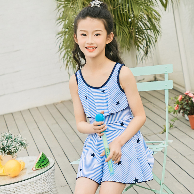 Girl'S Swimsuit Big Boy 12-15-Year-Old One-piece Princess Dress-GIRL'S Bathing Suit Children Dacron GIRL'S Tour Bathing Suit