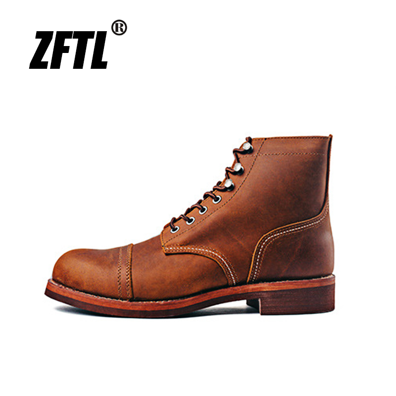 ZFTL Men's Motorcycle Boots Cowhide American Vintage Genuine Leather Desert Boots Matins Boots Male Lace up Boots Couple boots