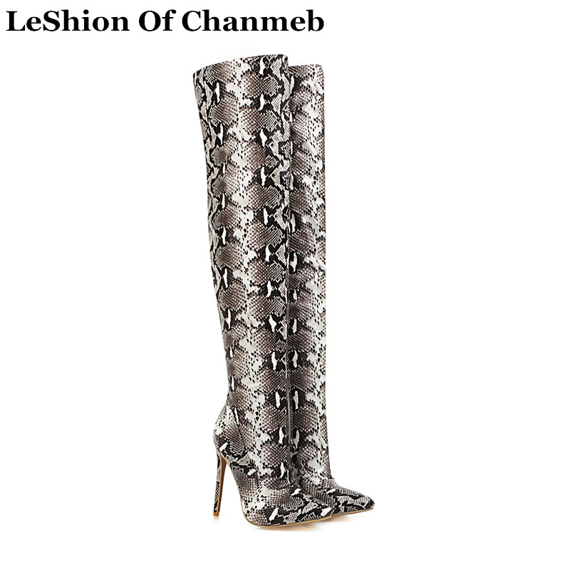 Ladies Women Snake Print PU leather Thigh high boots 12cm stiletto heels size 43-48 python serpentine over the knee boots shoes