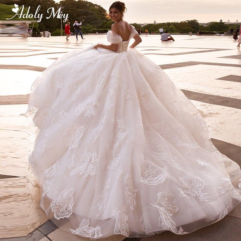 Adoly Mey Romantic Boat Neck Lace Up A-Line Wedding Dresses 2020 Luxury Appliques Court Train Boho Bridal Gowns Vestido De Noiva
