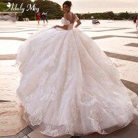 Adoly Mey Romantic Boat Neck Lace Up A Line Wedding Dresses 2020 Luxury Appliques Court Train Boho Bridal Gowns Vestido de Noiva