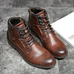 Image 4 - サイズ39〜48秋男性アンクルブーツ2019レトロラバー男性のブーツ # AF3998