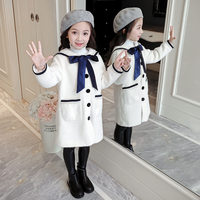 Kids Jackets for Girls 10 Years Bow Tie Fashion Winter Jackets For Girls 2019 Woolen Outerwear Warm Kids Long Sleeved Clothing