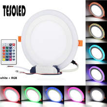 Round LED Panel Light Recessed Kitchen Bathroom Ceiling Lamp Downlight Warm White/Cool White +RGB With remote control 8.16
