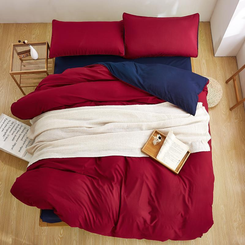 Red and Navy Blue Plain Color Linen Bedding Sets