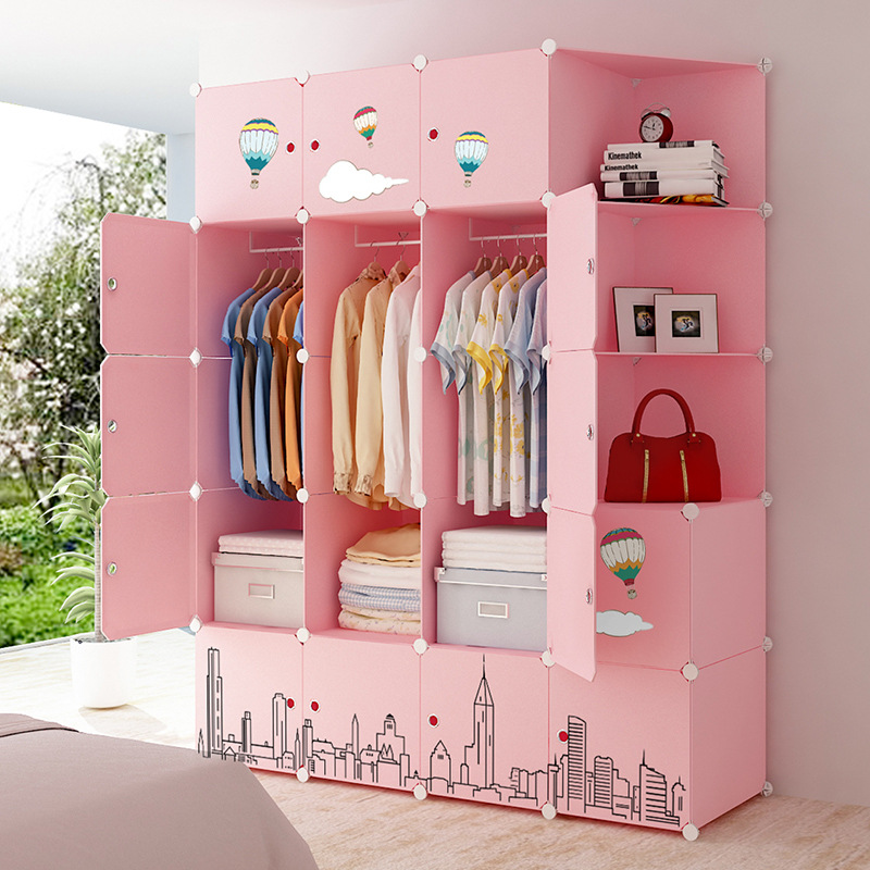 Simple Wardrobe Assembly Single Person Bedroom Renting Economical Household Storage Hanging Imitation Wood Plastic Wardrobe Cabi