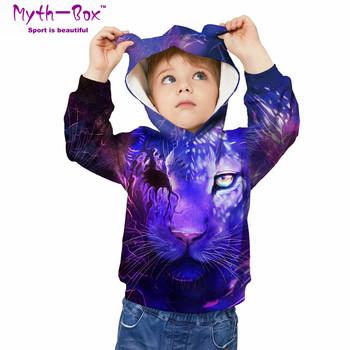 Jesień zima bluzy dziecięce lew 3D Print bluzy dziecięce Junior dziecko topy luźny sweter 5-12y chłopięcy i dziewczęcy sweter z kapturem tanie i dobre opinie Myth-box Pasuje prawda na wymiar weź swój normalny rozmiar Szybkie suche Wokół szyi TWQA Pełna Dzianiny Poliester