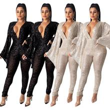 Women Sexy Bodycon Jumpsuit Sequined Party Wide Long Sleeve Deep V-Neck Long Sleeves Bling Sexy Rompers Elegant Ladies Clothing black zip front v neck long sleeves bodycon jumpsuit