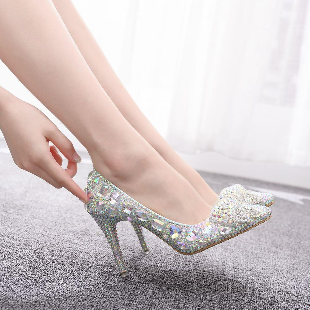 Crystal QueenEuropean Wedding Shoes Female White Drill Rhinestone Crystal Bow Shoes Stiletto Pointed Bridal Shoes High Heels
