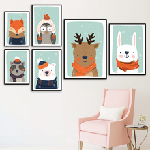 Reindeer Rabbit Fox Raccoon Christmas Cartoon Wall Art Print Canvas Painting  Nordic Posters And Prints Wall Pictures Kids Room футболка print bar christmas fox