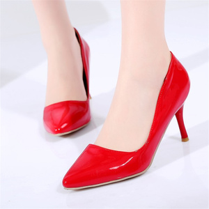 Image 5 - Fashion High Heels Shoes Woman Pointed Toe Classic Shallow Womens pumps White Red Pink Heels Wedding Office Shoes Large Size 48
