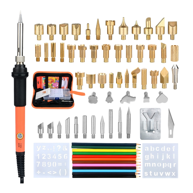 Hot 71Pcs 60W Soldering Iron Wood Burning Kit Adjustable Engraving Pyrography Tool Welding Welding Skill Kit Wood Embosse(Us Plu