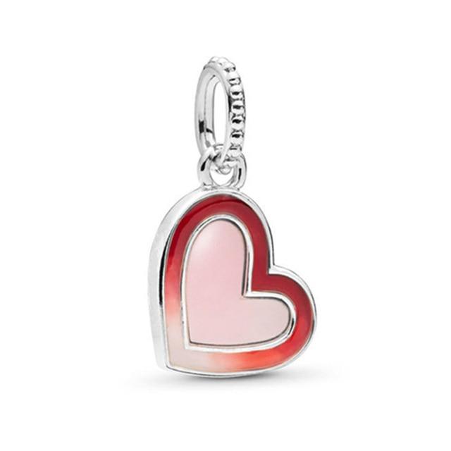 TOGORY 2 unids/lote rojo especial coronas y corazón de amor encanto cuentas colgante se adapta a Pandora Original encantos pulsera mujeres joyería DIY hacer