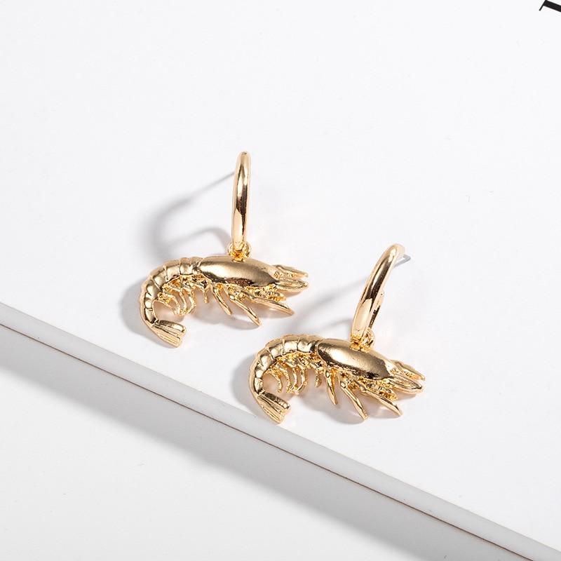 Boho Chic Ocean Beach Sea Lobster Earrings For Women Vintage Cute Shrimp Dangle Punk Party Statement Jewelry Gift Brincos