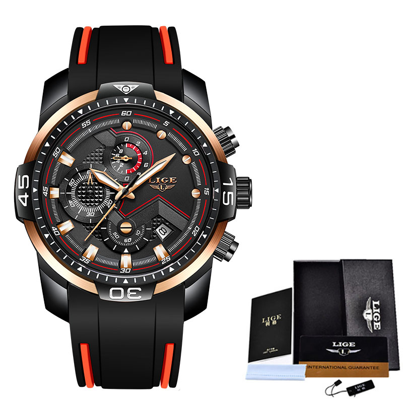 2020 LIGE Sport Watch Men Top Brand Luxury Chronograph Silicone Strap Quartz Mens Watches Waterproof Clock Relogio Masculino+Box 9