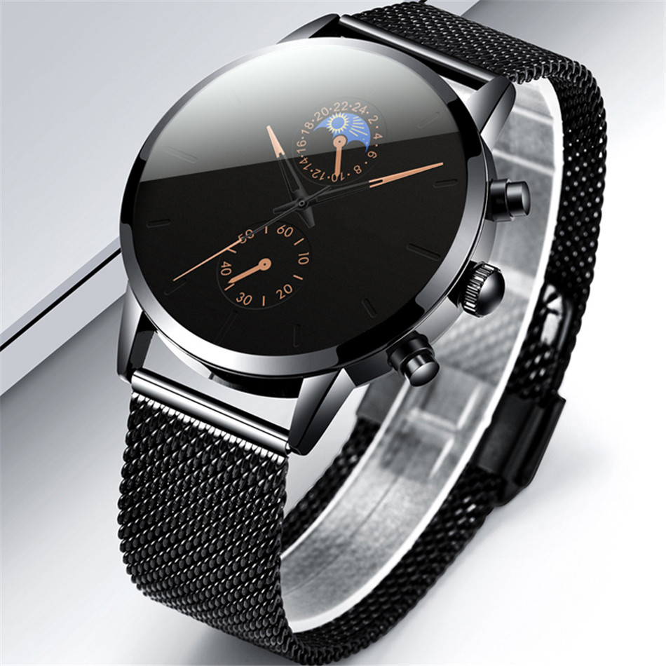 H8bd4b061ddee40c0abbd31a674692333r Fashion Mens Business Black Watches Luxury Stainless Steel leather Belt Watch Quartz Men Wrist Watch Relojes Hombre