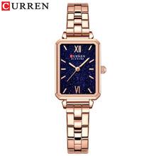 CURREN eleganckie zegarki damskie klasyczny prostokąt Dial lekka cienka kwarcowy zegarek zegar ze stali nierdzewnej tanie tanio QUARTZ NONE Zapięcie bransolety CN (pochodzenie) STOP 3Bar Moda casual 10mm ROUND Odporne na wodę Hardlex CURREN-9082