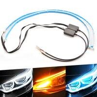 Tira de luces LED Flexible y secuencial para coche, accesorio de 60CM, ligero Delgado, color ámbar, intermitente, para Ford Focus 2 3 BMW E46 E39 E60 VW Toyota Benz