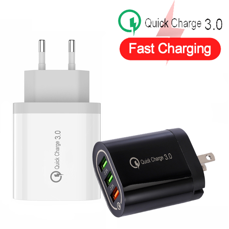 24W Quick Charge 3.0 <font><b>USB</b></font> Charger for Samsung Xiaomi Huawei iPhone EU & US Fast Mobile Phone Charger <font><b>Power</b></font> <font><b>Adapter</b></font> image