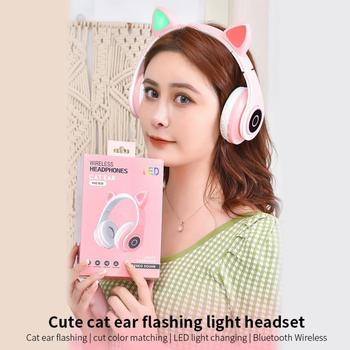 New Arrival LED Cat Ear Noise Cancelling Headphones Bluetooth 5.0 Young People Kids Headset Support