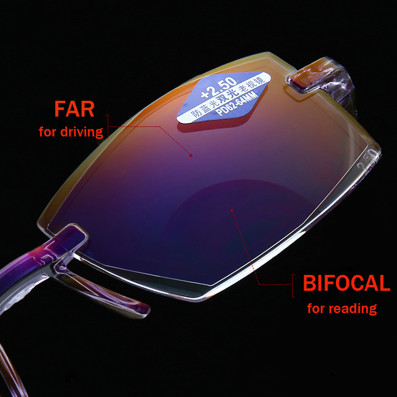 Anti Blue Light Reading Glasses Bifocal Multifocal Rimless Flexible Glasses Presbyopia Men Women Super Lightweight High Quality