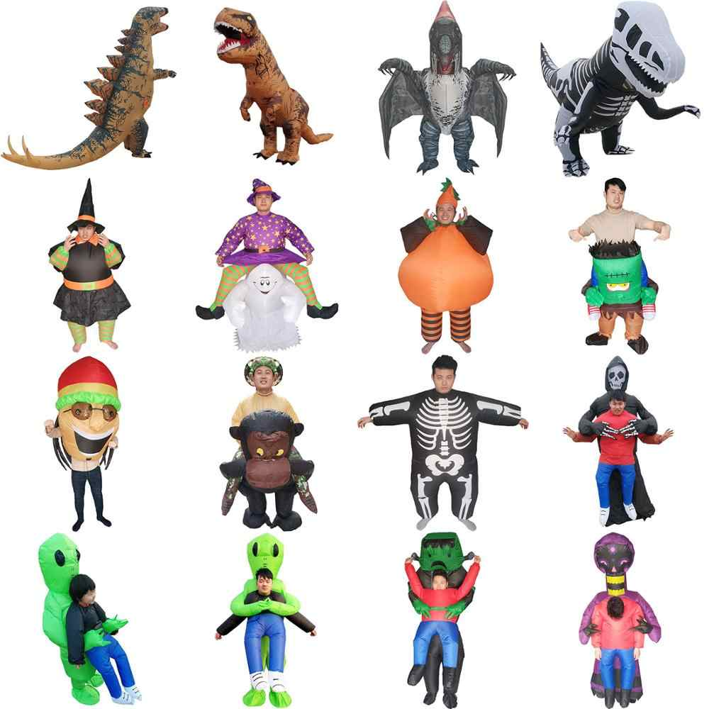 Volwassenen Opblaasbare Dinosaurus Kostuum Halloween Party Fancy Dress Alien Monster Pompoen Heks Opblazen Kostuum Carnaval Cosplay Pak