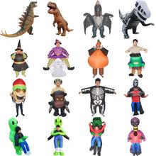 Adults Inflatable Dinosaur Costume Halloween Party Fancy Dress Alien Monster Pumpkin Witch Blow Up Carnival Cosplay Suit