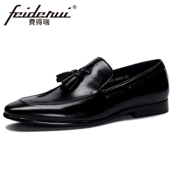 Plus Size 48 Genuine Leather Men's Handmade Tassel Casual Loafers Round Toe Slip on Man Comfortable Daily Office Shoes BQL263