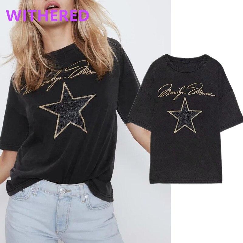 Dave&Di England High Street Stars And Letter Print Cotton Summer T Shirt Women Harajuku Tshirt Camisetas Verano Mujer 2020 Tops