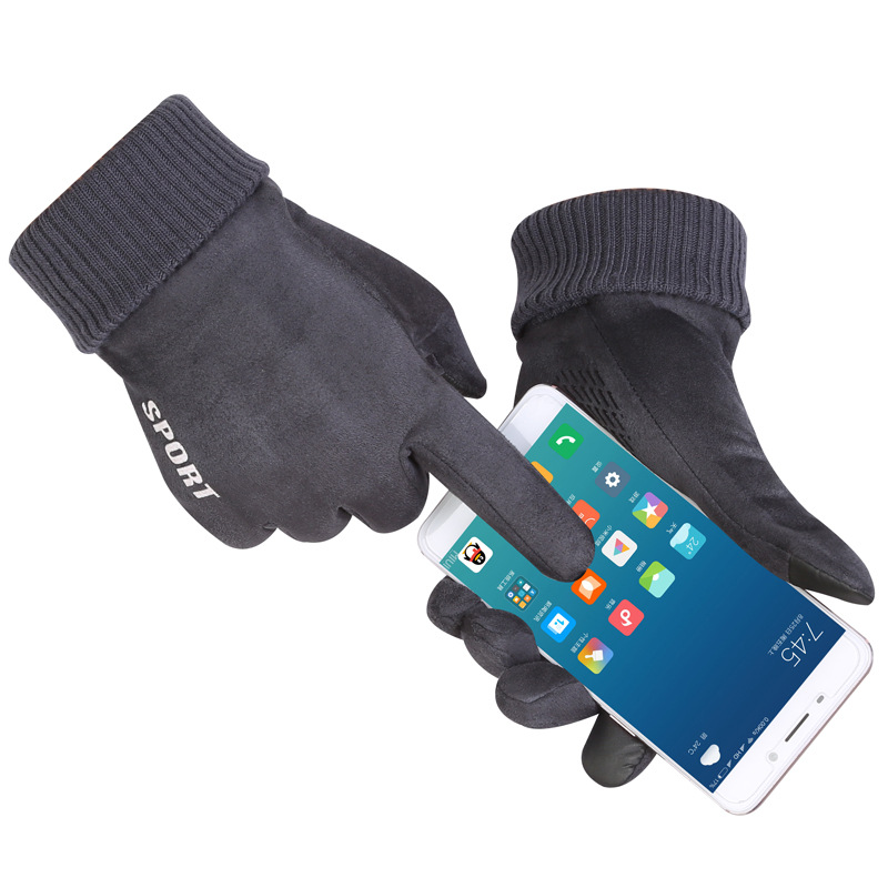 Suede Gloves Men's Warm Touch Screen Gloves In Autumn And Winter